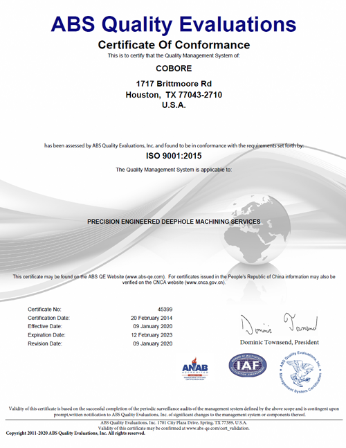 Cobore ISO Certification